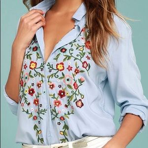 Lulus Embroidered Blue Floral Shirt Small